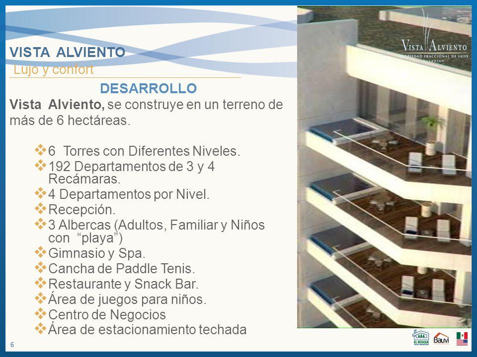 VISTA ALVIENTO Lujo y confort DESARROLLO Vista Alviento, se construye en un terreno de más de 6 hectáreas. 6 Torres con Diferentes Niveles. 192 Depart