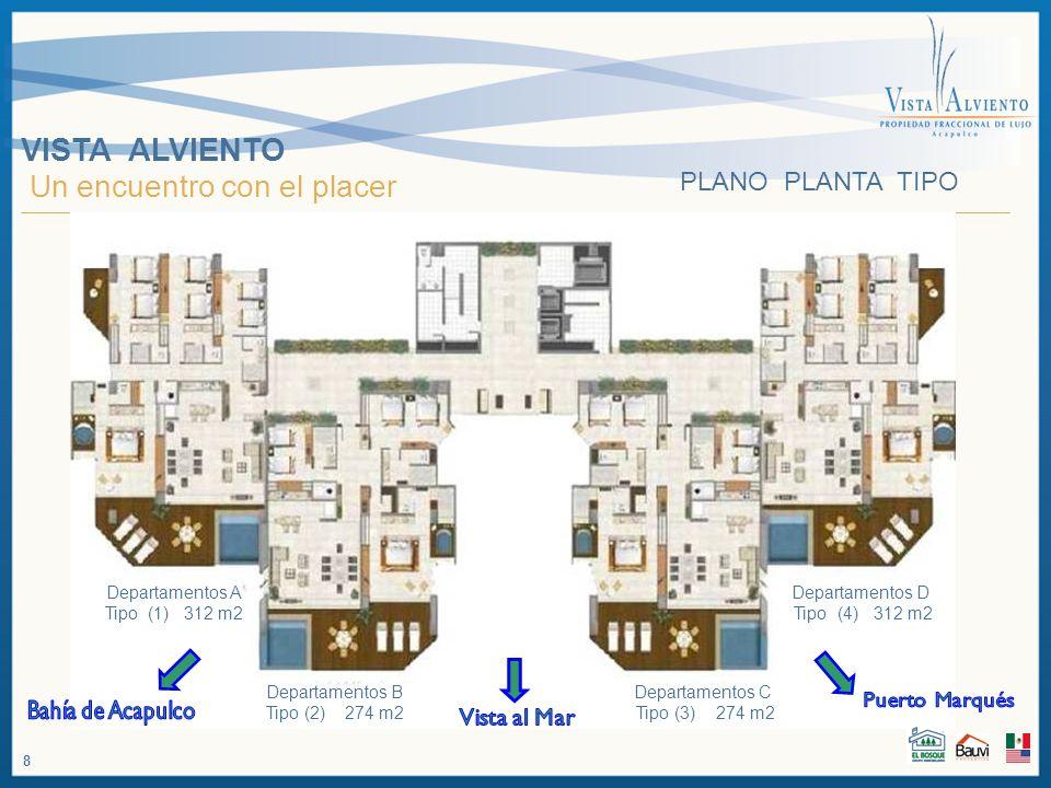 VISTA ALVIENTO Un encuentro con el placer Departamentos A Tipo (1) 312 m2 Departamentos B Tipo (2) 274 m2 Departamentos C Tipo (3) 274 m2 Departamento
