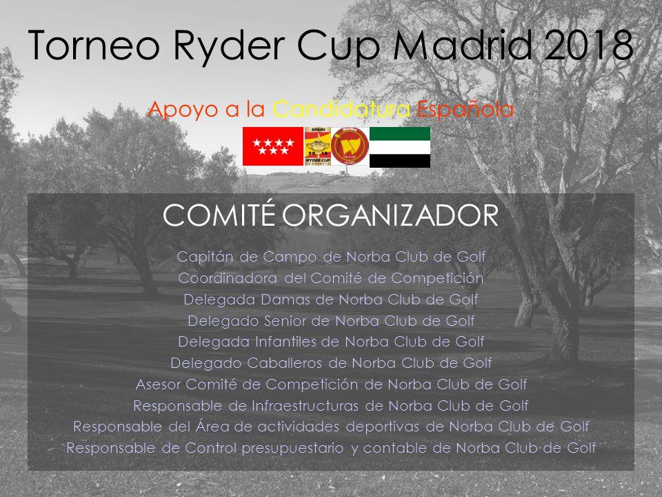 COMITÉ ORGANIZADOR Capitán de Campo de Norba Club de Golf Coordinadora del Comité de Competición Delegada Damas de Norba Club de Golf Delegado Senior