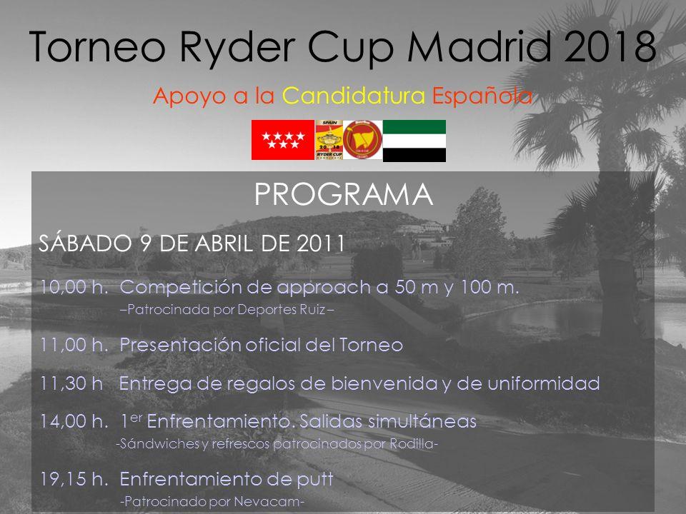 PROGRAMA SÁBADO 9 DE ABRIL DE 2011 10,00 h. Competición de approach a 50 m y 100 m. –Patrocinada por Deportes Ruiz – 11,00 h. Presentación oficial del