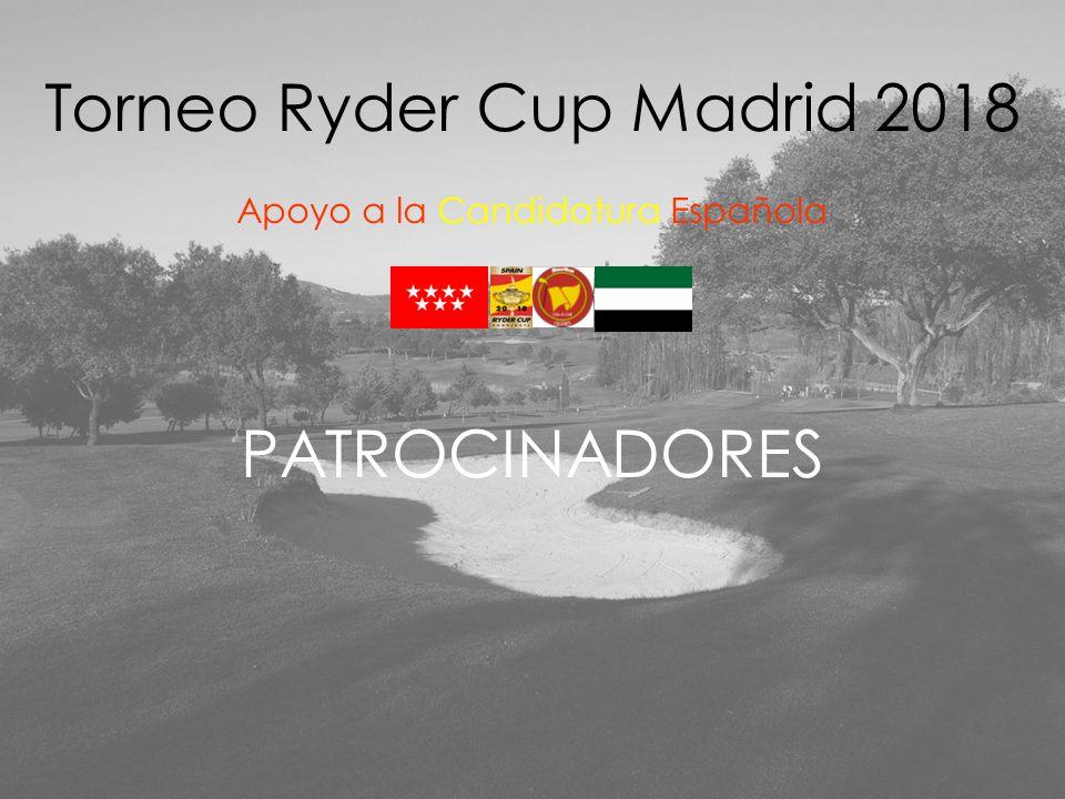 COMITÉ ORGANIZADOR Presidente de Norba Club de Golf Presidente de Comité de Competición y Capitán del Equipo Norba Club de Golf Capitán del Equipo de Comunidad de Madrid Gerente de la Candidatura de la Ryder Cup Madrid 2018 Vicepresidente de Norba Culb de Golf Tesorero de Norba Club de Golf Secretaria de la Junta Directiva y responsable de Imagen de Norba Club de Golf Torneo Ryder Cup Madrid 2018 Apoyo a la Candidatura Española