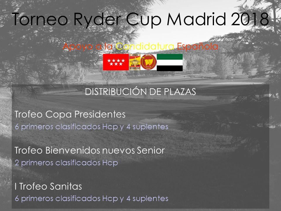 DISTRIBUCIÓN DE PLAZAS Trofeo Copa Presidentes 6 primeros clasificados Hcp y 4 suplentes Trofeo Bienvenidos nuevos Senior 2 primeros clasificados Hcp I Trofeo Sanitas 6 primeros clasificados Hcp y 4 suplentes Torneo Ryder Cup Madrid 2018 Apoyo a la Candidatura Española