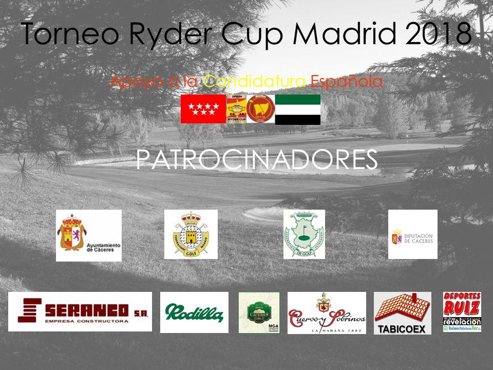 Torneo Ryder Cup Madrid 2018 Apoyo a la Candidatura Española GRAN SORTEO DE REGALOS 132 libros -Ayuntamiento de Cáceres- 132 gorras -Cuervo y Sobrinos- 12 Cajas Regalo -Torta del Casar- 1 Jamón ibérico -Carloto- 1 artículo de joyería -TOUS- 10 chalecos golf -SEUR- 1 bolsa de golf -Garan Comunicaciones- 1 invitación 2 pax comida/cena -Restaurante Duran Dorada- 4 Cajas de Vino (6 botellas) Bodegas Habla 1 driver -Mármoles Pedro Trenado- 50 libros (Caja Extremadura) 132 obsequios -Tambo- 1 Sudadera – Kim Young Goo-