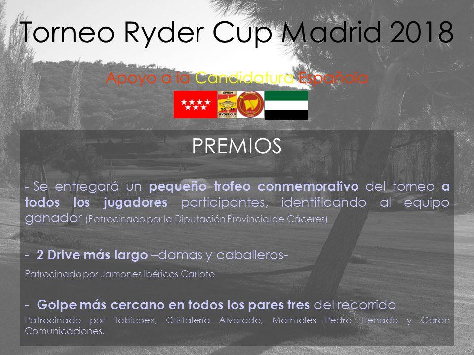 PREMIOS - Se entregará un pequeño trofeo conmemorativo del torneo a todos los jugadores participantes, identificando al equipo ganador (Patrocinado po