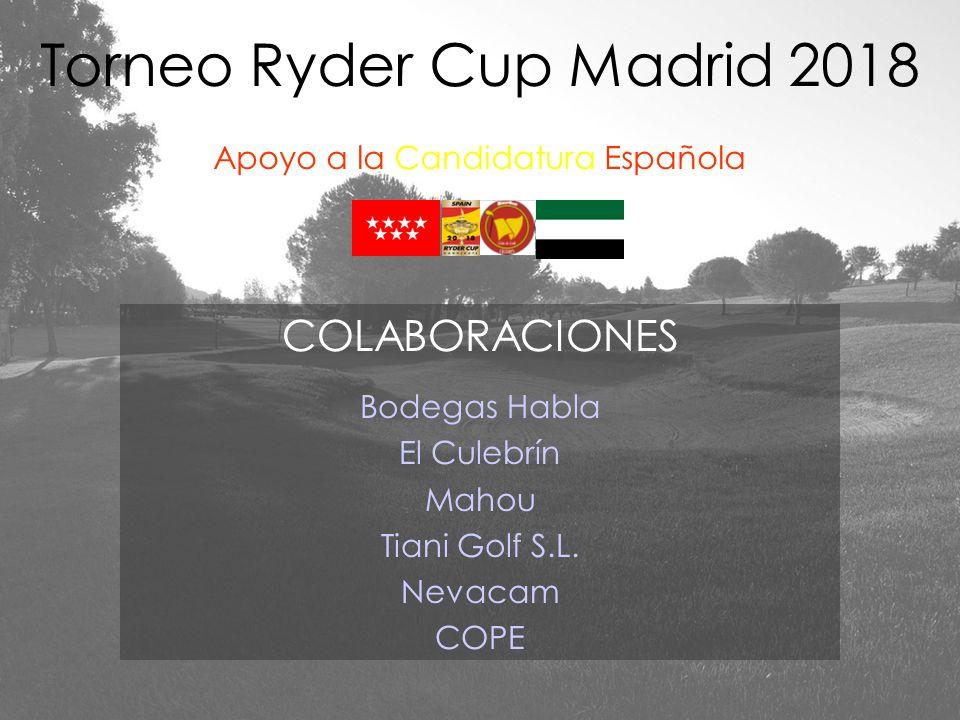Torneo Ryder Cup Madrid 2018 Apoyo a la Candidatura Española COLABORACIONES Bodegas Habla El Culebrín Mahou Tiani Golf S.L. Nevacam COPE