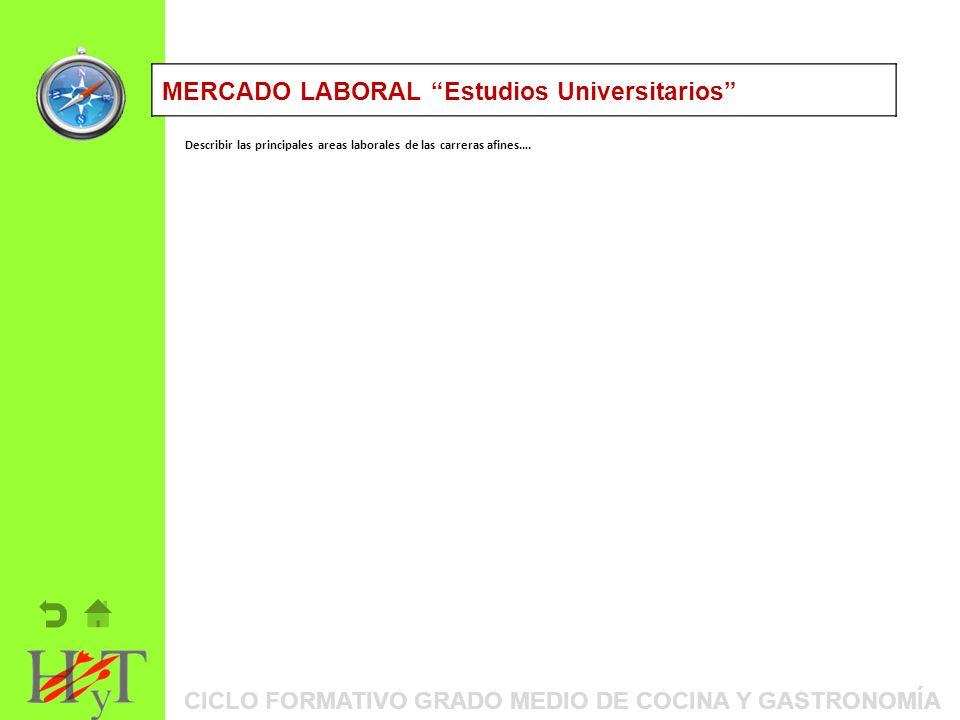 ORIENTACIÓN PROFESIONAL: ITINERARIOS FORMATIVOSMERCADO LABORAL Estudios Universitarios Describir las principales areas laborales de las carreras afines….