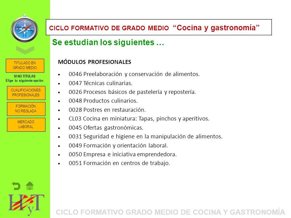 ORIENTACIÓN PROFESIONAL: ITINERARIOS FORMATIVOS CICLO FORMATIVO DE GRADO MEDIO Cocina y gastronomía MÓDULOS PROFESIONALES 0046 Preelaboración y conservación de alimentos.
