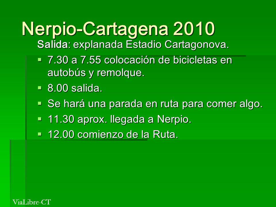Nerpio-Cartagena 2010 Nerpio-Cartagena 2010 Salida: explanada Estadio Cartagonova. 7.30 a 7.55 colocación de bicicletas en autobús y remolque. 7.30 a