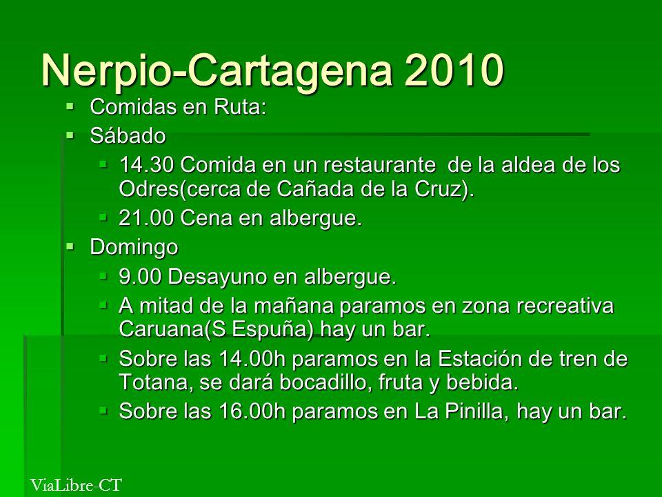 Nerpio-Cartagena 2010 Comidas en Ruta: Comidas en Ruta: Sábado Sábado 14.30 Comida en un restaurante de la aldea de los Odres(cerca de Cañada de la Cr