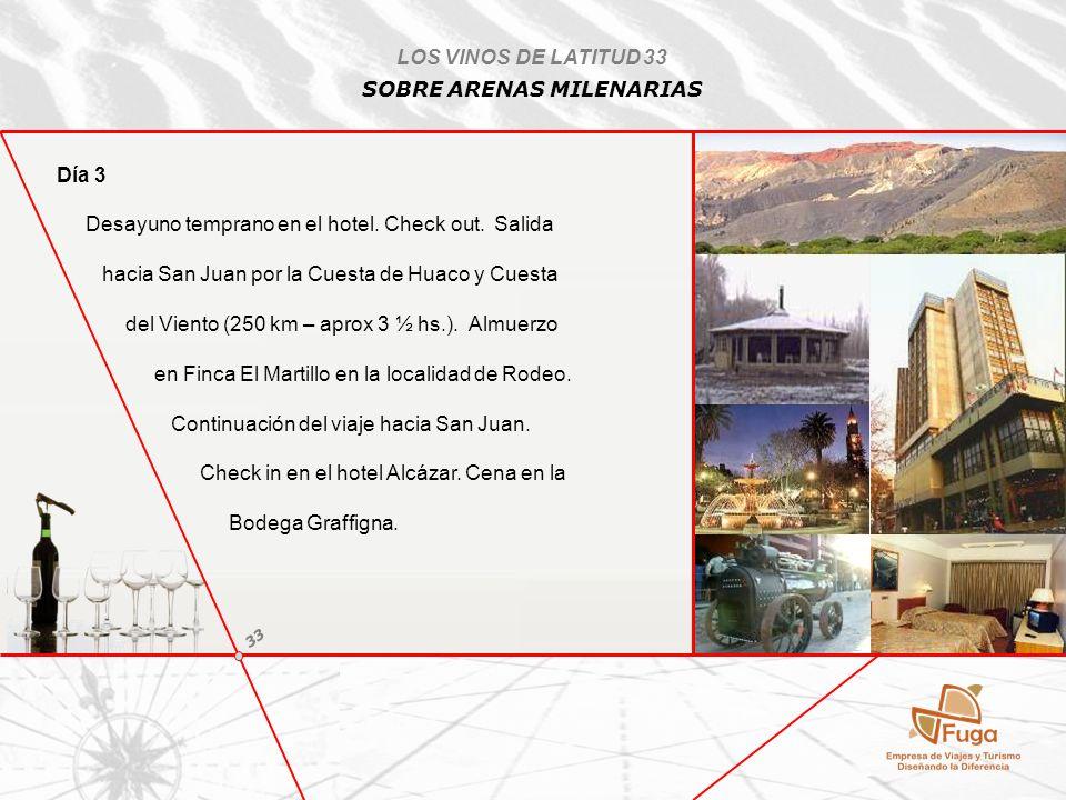 Día 3 Desayuno temprano en el hotel. Check out. Salida hacia San Juan por la Cuesta de Huaco y Cuesta del Viento (250 km – aprox 3 ½ hs.). Almuerzo en