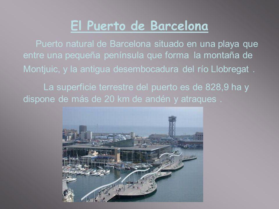 El Puerto de Barcelona Puerto natural de Barcelona situado en una playa que entre una pequeña península que forma la montaña de Montjuic, y la antigua desembocadura del río Llobregat.