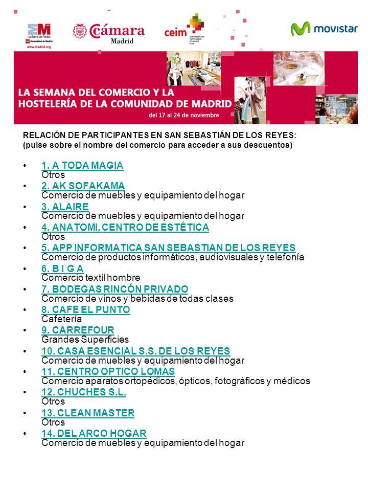 RELACIÓN DE PARTICIPANTES EN SAN SEBASTIÁN DE LOS REYES: (pulse sobre el nombre del comercio para acceder a sus descuentos) 1. A TODA MAGIA Otros1. A