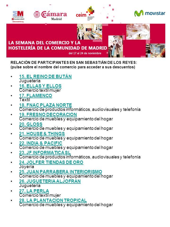 RELACIÓN DE PARTICIPANTES EN SAN SEBASTIÁN DE LOS REYES: (pulse sobre el nombre del comercio para acceder a sus descuentos) 15. EL REINO DE BUTÁN Jugu