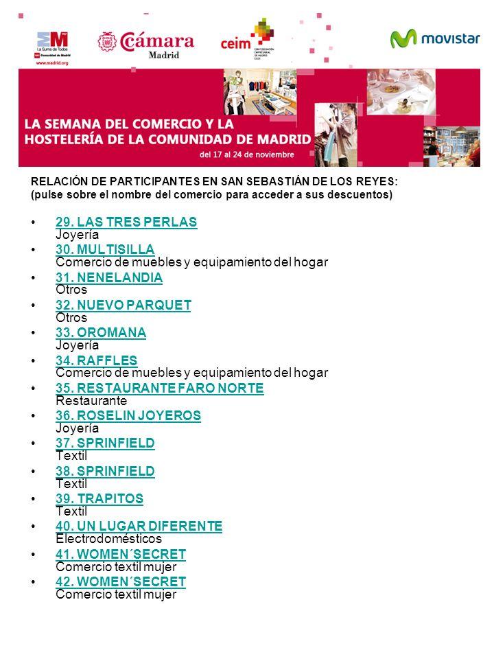 RELACIÓN DE PARTICIPANTES EN SAN SEBASTIÁN DE LOS REYES: (pulse sobre el nombre del comercio para acceder a sus descuentos) 29. LAS TRES PERLAS Joyerí