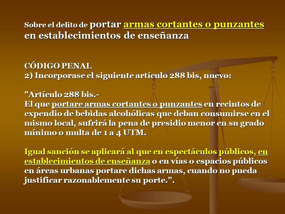 Identificación de la Norma : LEY-20000 Fecha de Publicación : 16.02.2005 Fecha de Promulgación : 02.02.2005 Organismo : MINISTERIO DEL INTERIOR Ultima Modificación : LEY-20074 14.11.2005 LEY DE DROGAS Artículo 12Quien se encuentre, a cualquier título, a cargo de un establecimiento educacional de cualquier nivel Artículo 12.- Quien se encuentre, a cualquier título, a cargo de un establecimiento de comercio, cine, hotel, restaurante, bar, centro de baile o música, recinto deportivo, establecimiento educacional de cualquier nivel, u otros abiertos al público, y tolere o permita el tráfico o consumo de alguna de las sustancias mencionadas en el artículo 1º, será castigado con presidio menor en sus grados medio a máximo y multa de cuarenta a doscientas unidades tributarias mensuales, a menos que le corresponda una sanción mayor por su participación en el hecho.