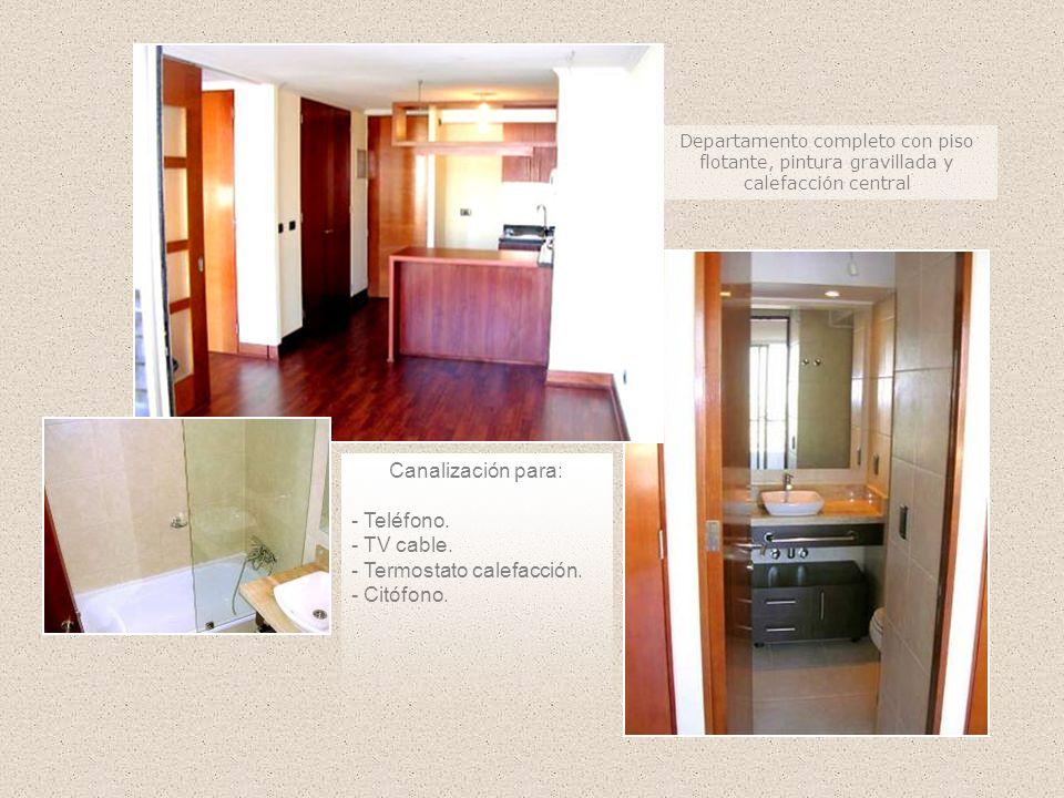 Departamento completo con piso flotante, pintura gravillada y calefacción central Canalización para: - Teléfono. - TV cable. - Termostato calefacción.