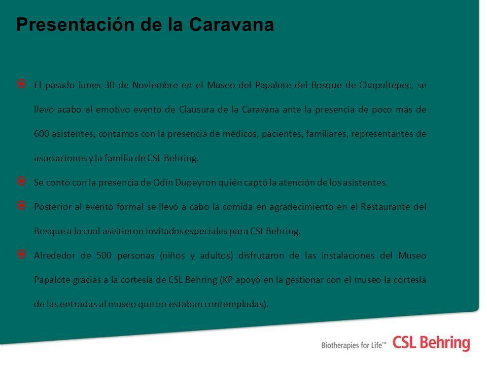 Presentación de la Caravana El pasado lunes 30 de Noviembre en el Museo del Papalote del Bosque de Chapultepec, se llevó acabo el emotivo evento de Cl