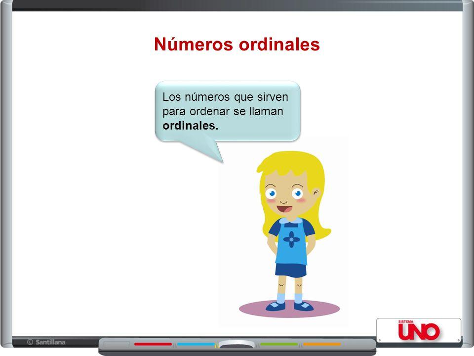Los números ordinales se escriben así: Primero : 1° Segundo : 2° Tercero : 3° Cuarto : 4° Quinto: 5° Sexto: 6° Séptimo: 7° Octavo: 8° Noveno: 9° Décimo: 10°