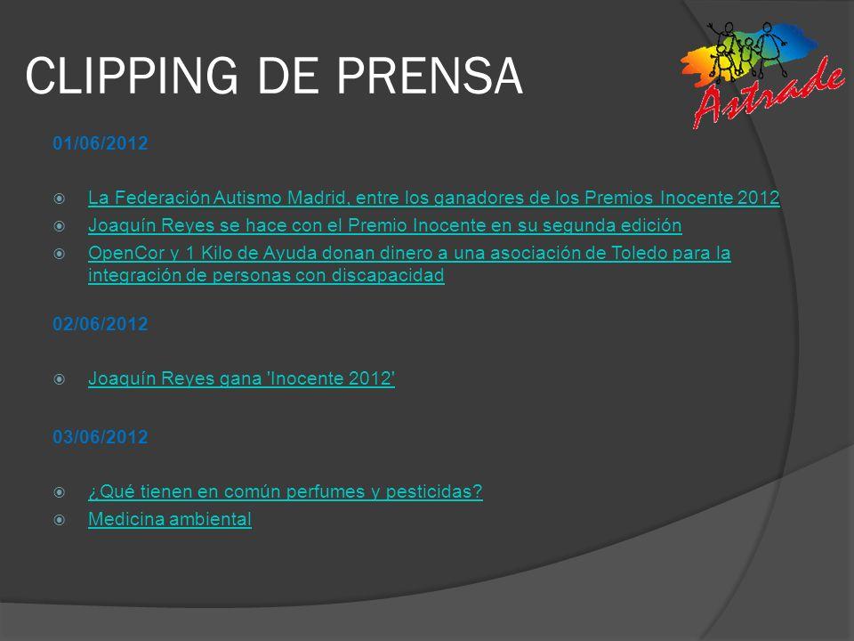 CLIPPING DE PRENSA 01/06/2012 La Federación Autismo Madrid, entre los ganadores de los Premios Inocente 2012 Joaquín Reyes se hace con el Premio Inoce