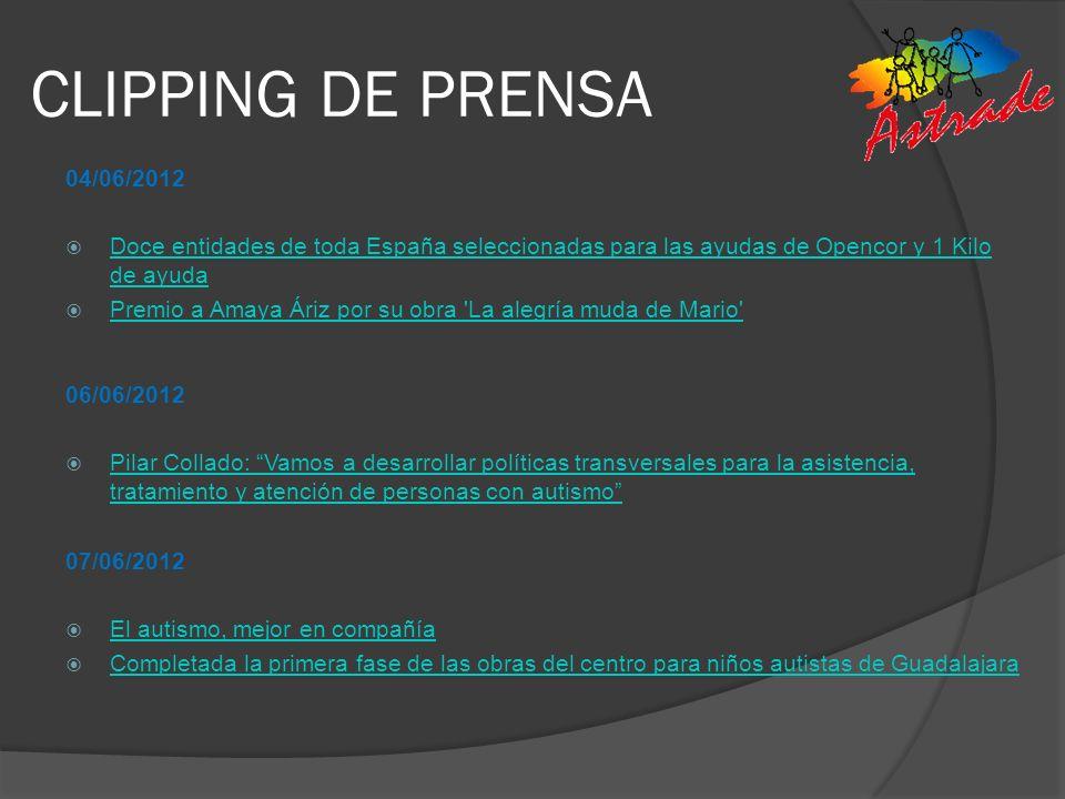CLIPPING DE PRENSA 04/06/2012 Doce entidades de toda España seleccionadas para las ayudas de Opencor y 1 Kilo de ayuda Doce entidades de toda España s