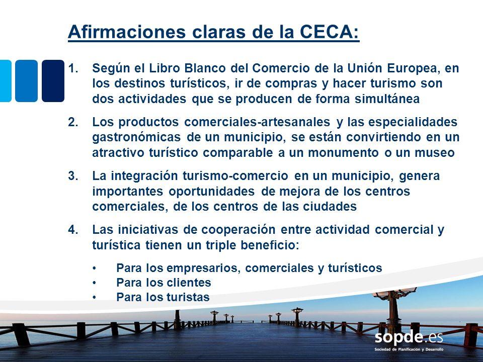 Afirmaciones claras de la CECA: 1.Según el Libro Blanco del Comercio de la Unión Europea, en los destinos turísticos, ir de compras y hacer turismo so