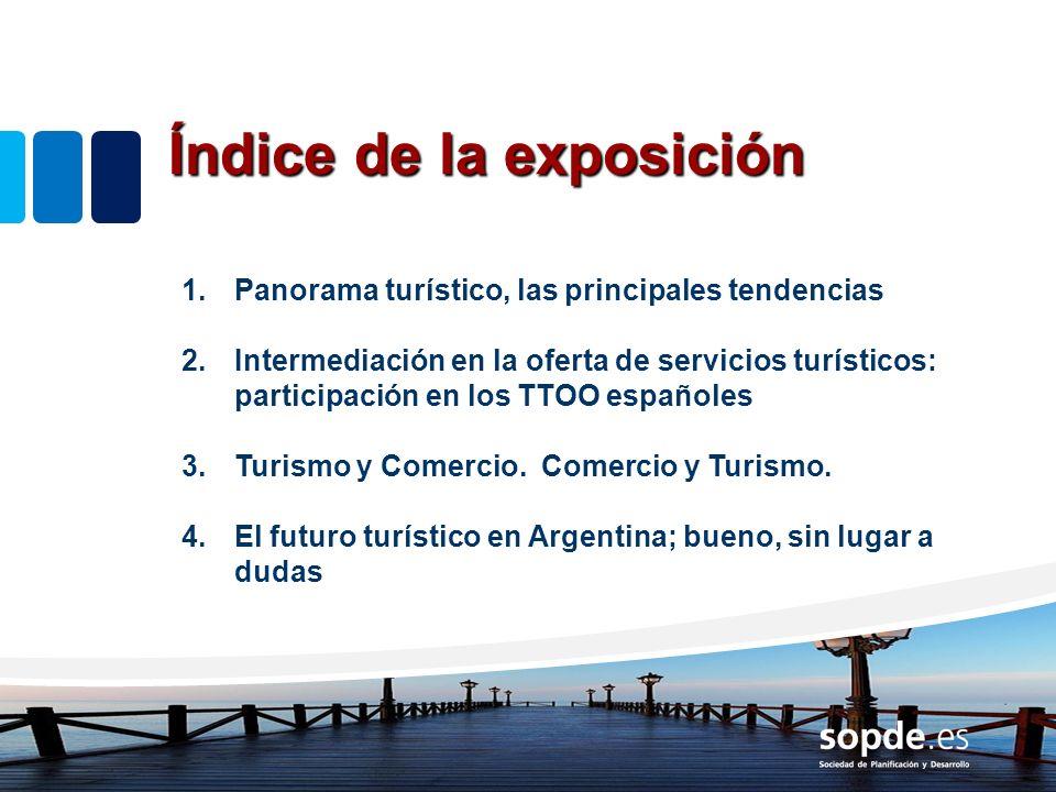 Índice de la exposición 1.Panorama turístico, las principales tendencias 2.Intermediación en la oferta de servicios turísticos: participación en los T