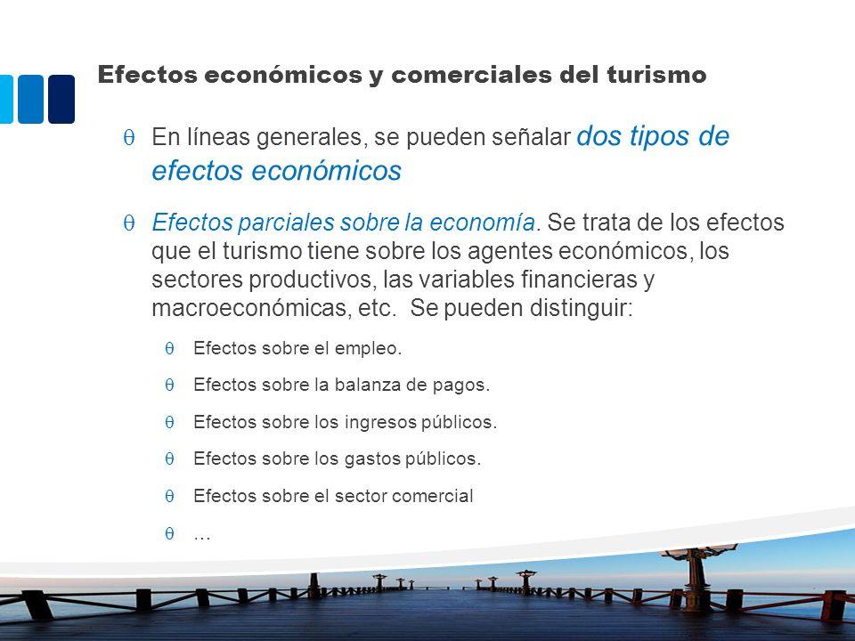 Efectos económicos y comerciales del turismo En líneas generales, se pueden señalar dos tipos de efectos económicos Efectos parciales sobre la economí