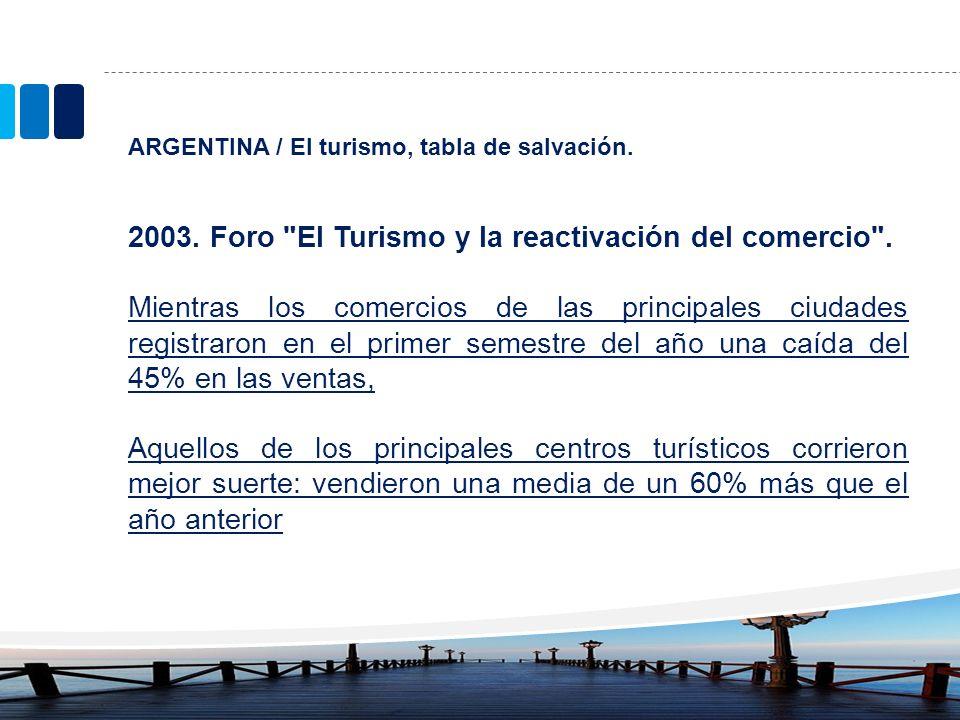 ARGENTINA / El turismo, tabla de salvación. 2003. Foro