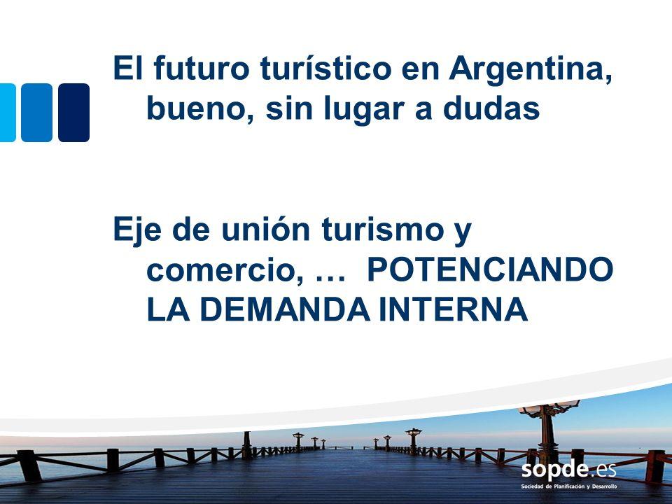 El futuro turístico en Argentina, bueno, sin lugar a dudas Eje de unión turismo y comercio, … POTENCIANDO LA DEMANDA INTERNA