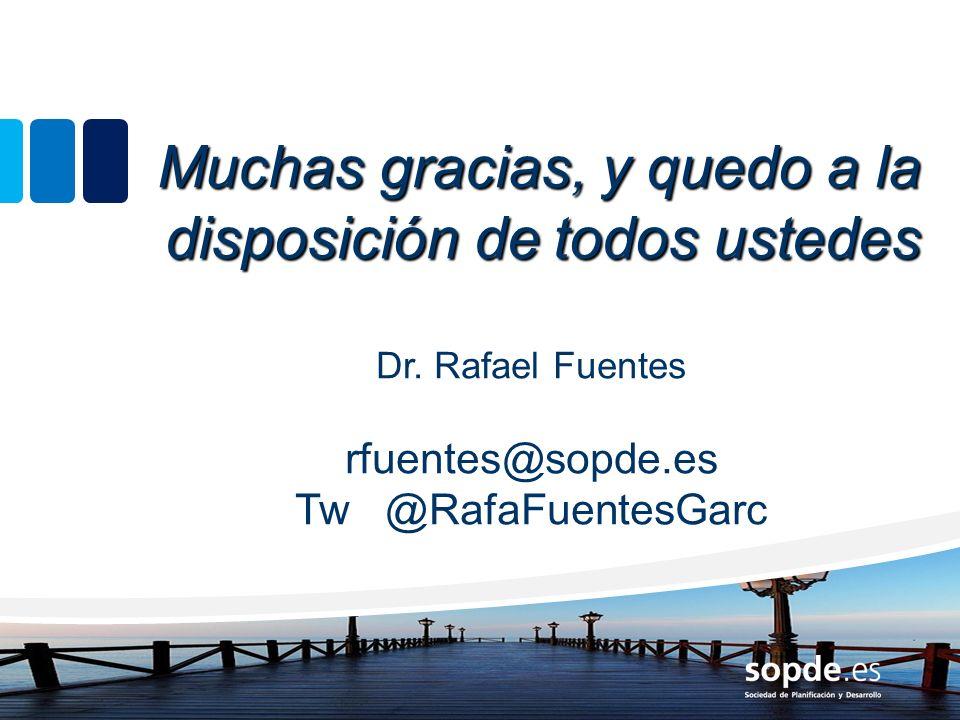 Muchas gracias, y quedo a la disposición de todos ustedes Dr. Rafael Fuentes rfuentes@sopde.es Tw @RafaFuentesGarc