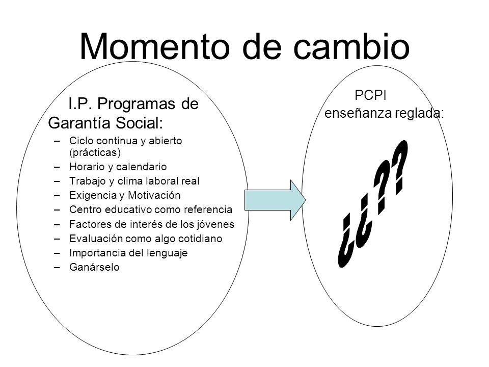 Momento de cambio I.P. Programas de Garantía Social: –Ciclo continua y abierto (prácticas) –Horario y calendario –Trabajo y clima laboral real –Exigen