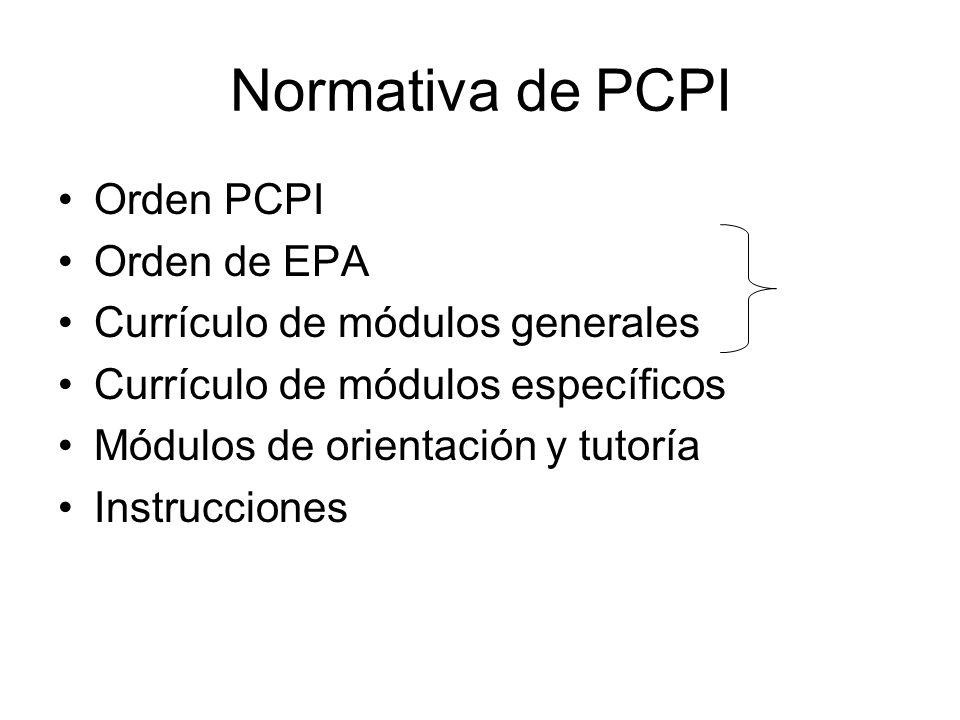 Normativa de PCPI Orden PCPI Orden de EPA Currículo de módulos generales Currículo de módulos específicos Módulos de orientación y tutoría Instrucciones