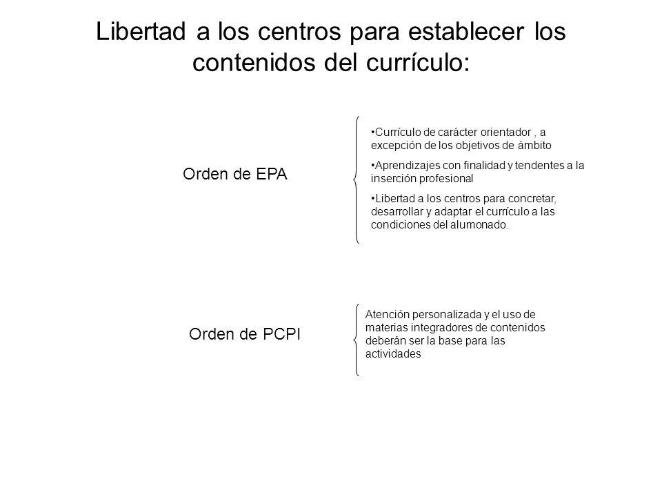 Libertad a los centros para establecer los contenidos del currículo: Orden de PCPI Orden de EPA Currículo de carácter orientador, a excepción de los o