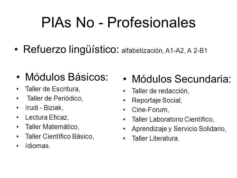 PIAs No - Profesionales Refuerzo lingüístico: alfabetización, A1-A2, A 2-B1 Módulos Básicos: Taller de Escritura, Taller de Periódico, Irudi - Biziak, Lectura Eficaz, Taller Matemático, Taller Científico Básico, Idiomas.