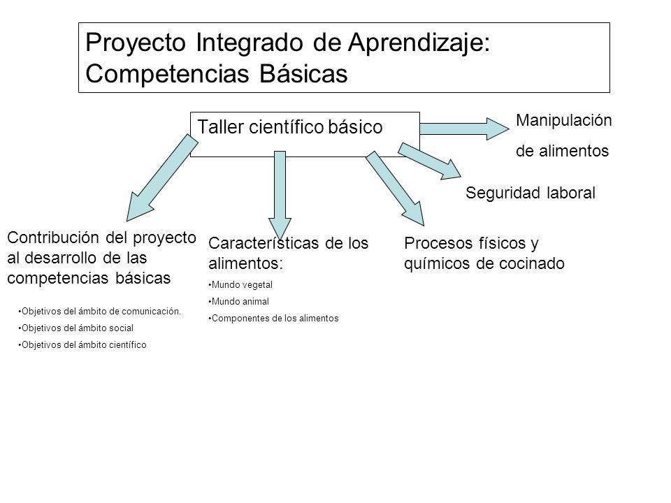 Proyecto Integrado de Aprendizaje: Competencias Básicas Taller científico básico Manipulación de alimentos Seguridad laboral Procesos físicos y químic