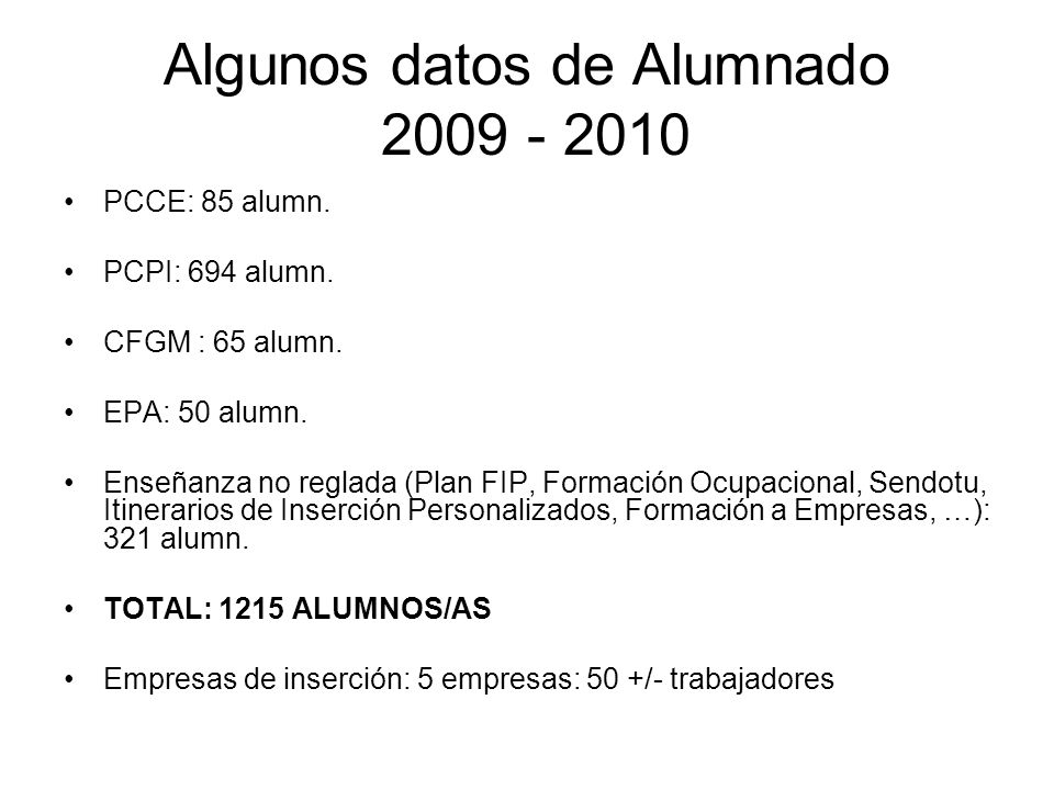 Algunos datos de Alumnado 2009 - 2010 PCCE: 85 alumn. PCPI: 694 alumn. CFGM : 65 alumn. EPA: 50 alumn. Enseñanza no reglada (Plan FIP, Formación Ocupa