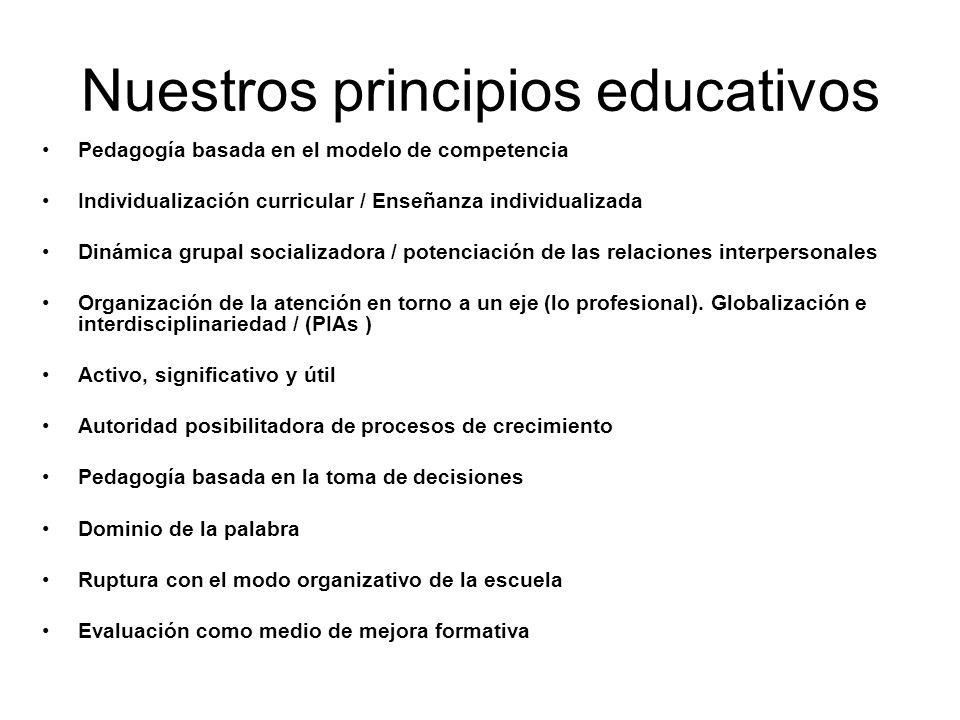 Nuestros principios educativos Pedagogía basada en el modelo de competencia Individualización curricular / Enseñanza individualizada Dinámica grupal socializadora / potenciación de las relaciones interpersonales Organización de la atención en torno a un eje (lo profesional).