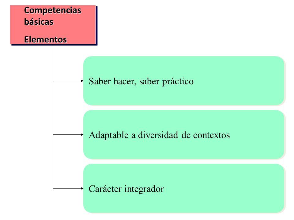 Competencias básicas Elementos Elementos Saber hacer, saber práctico Adaptable a diversidad de contextos Carácter integrador