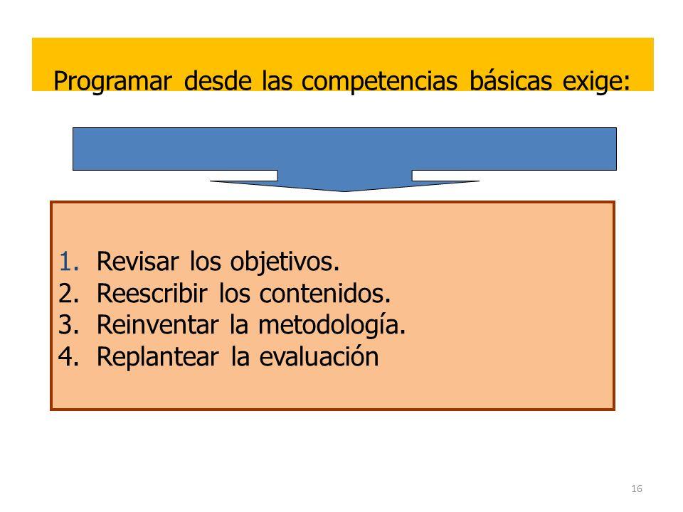 16 Programar desde las competencias básicas exige: 1.Revisar los objetivos. 2.Reescribir los contenidos. 3.Reinventar la metodología. 4.Replantear la