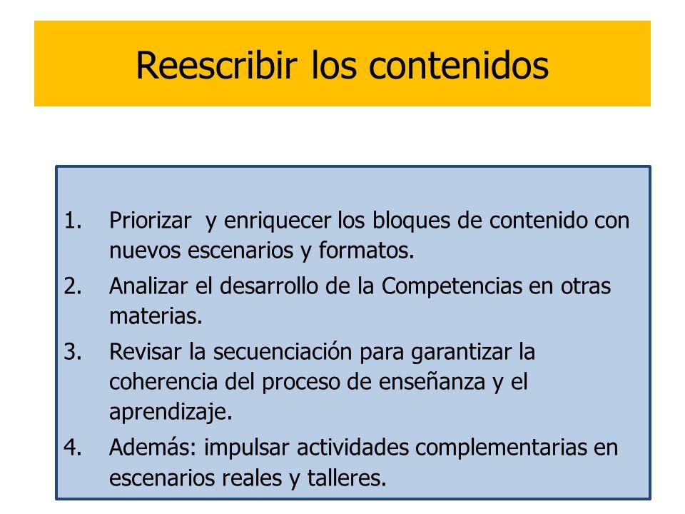 17 Reescribir los contenidos 1.Priorizar y enriquecer los bloques de contenido con nuevos escenarios y formatos. 2.Analizar el desarrollo de la Compet