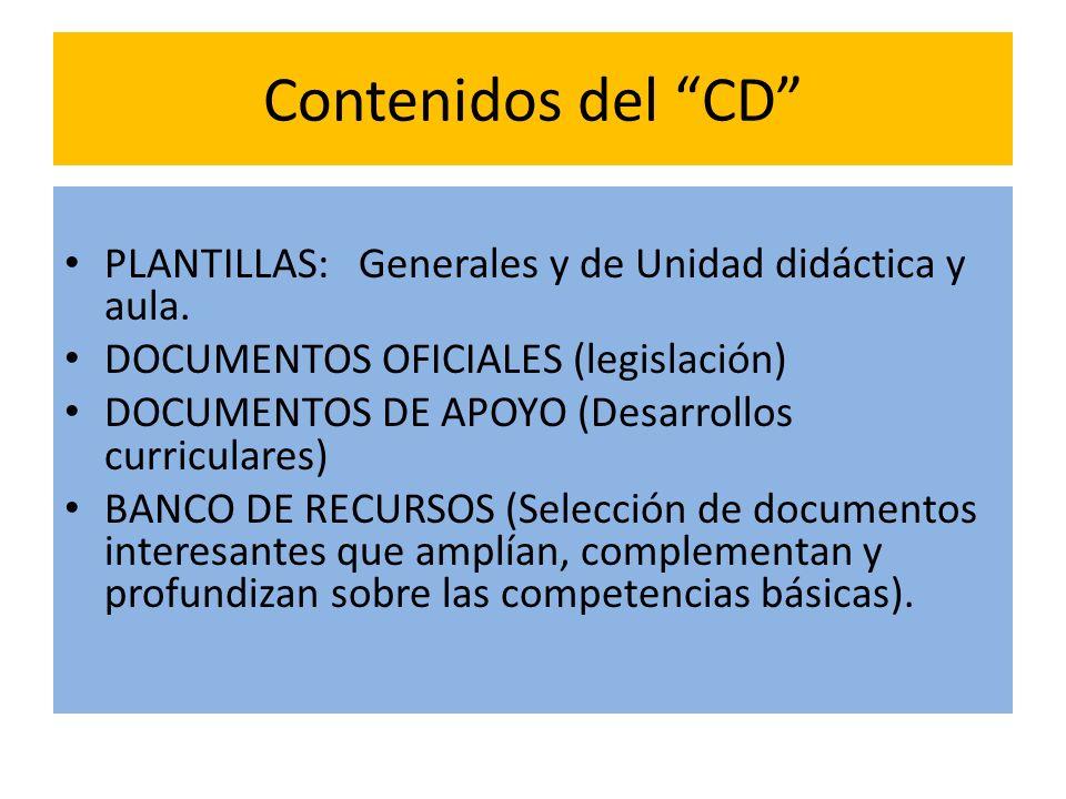 Contenidos del CD PLANTILLAS: Generales y de Unidad didáctica y aula. DOCUMENTOS OFICIALES (legislación) DOCUMENTOS DE APOYO (Desarrollos curriculares