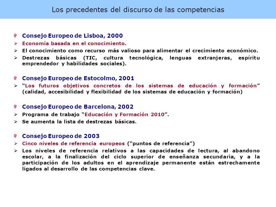 Los precedentes del discurso de las competencias Consejo Europeo de Lisboa, 2000 Economía basada en el conocimiento. El conocimiento como recurso más