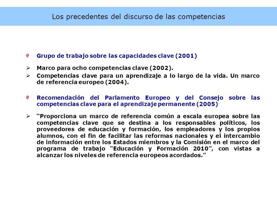 Los precedentes del discurso de las competencias Grupo de trabajo sobre las capacidades clave (2001) Marco para ocho competencias clave (2002). Compet