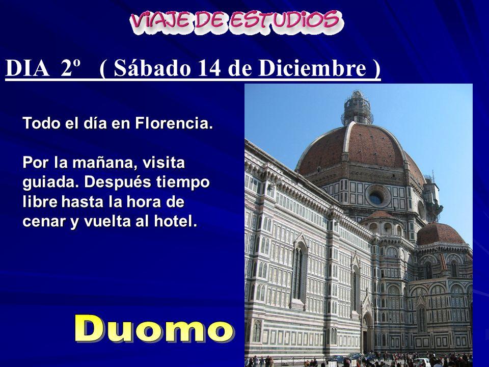 DIA 2º ( Sábado 14 de Diciembre ) Todo el día en Florencia. Por la mañana, visita guiada. Después tiempo libre hasta la hora de cenar y vuelta al hote
