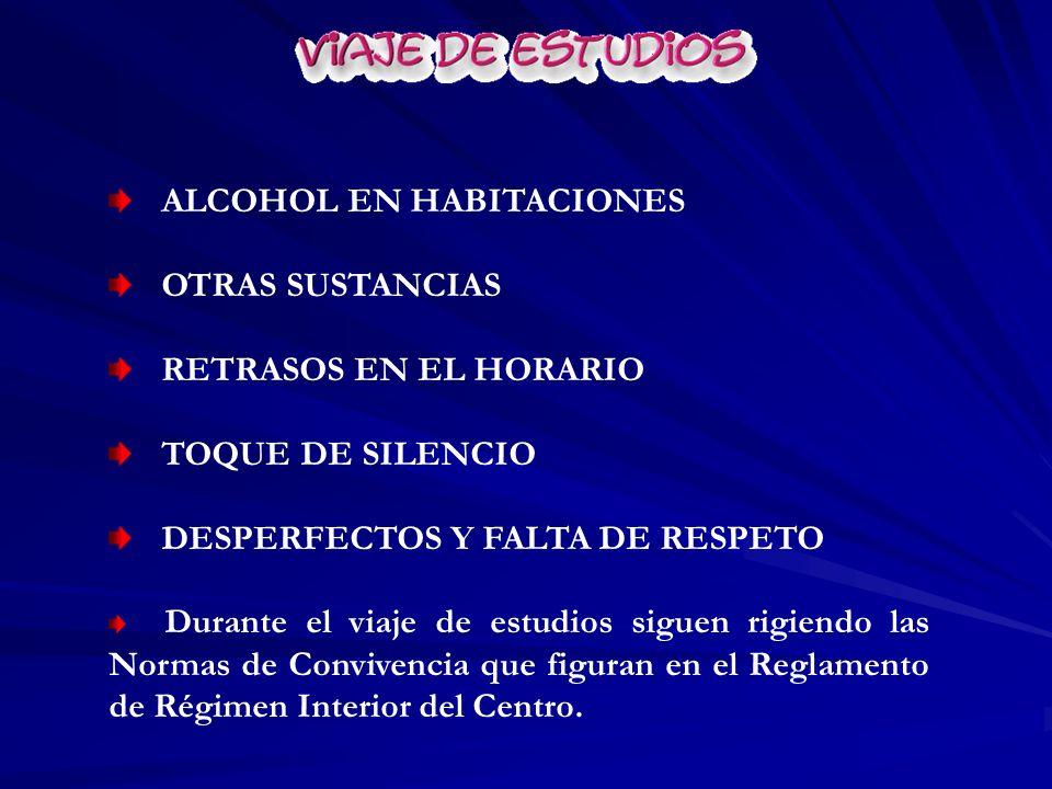 ALCOHOL EN HABITACIONES OTRAS SUSTANCIAS RETRASOS EN EL HORARIO TOQUE DE SILENCIO DESPERFECTOS Y FALTA DE RESPETO Durante el viaje de estudios siguen