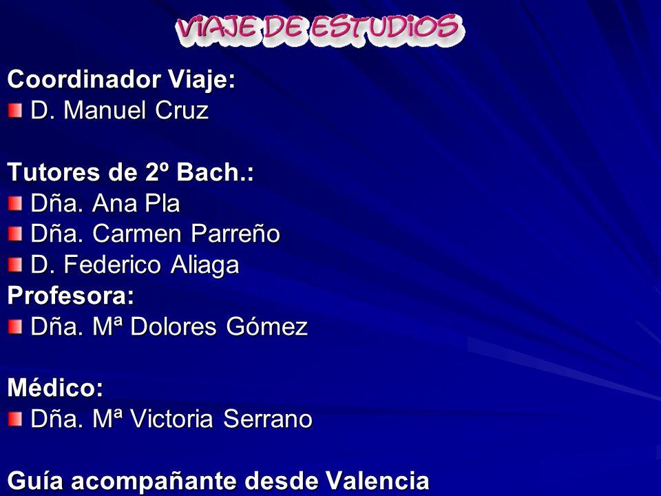 Coordinador Viaje: D. Manuel Cruz D. Manuel Cruz Tutores de 2º Bach.: Dña. Ana Pla Dña. Ana Pla Dña. Carmen Parreño Dña. Carmen Parreño D. Federico Al