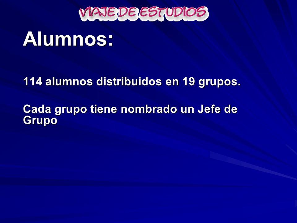 Alumnos: 114 alumnos distribuidos en 19 grupos. Cada grupo tiene nombrado un Jefe de Grupo