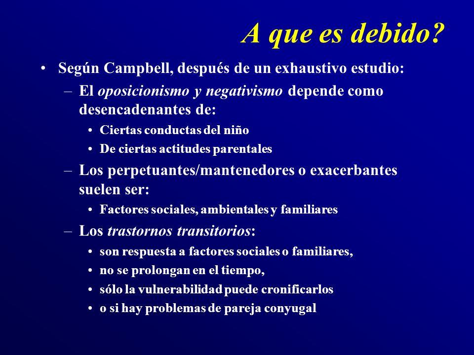 A que es debido? Según Campbell, después de un exhaustivo estudio: –El oposicionismo y negativismo depende como desencadenantes de: Ciertas conductas