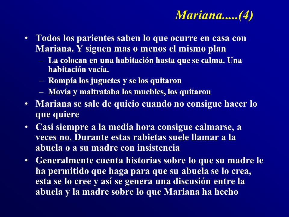 Mariana.....(4) Todos los parientes saben lo que ocurre en casa con Mariana. Y siguen mas o menos el mismo plan –La colocan en una habitación hasta qu