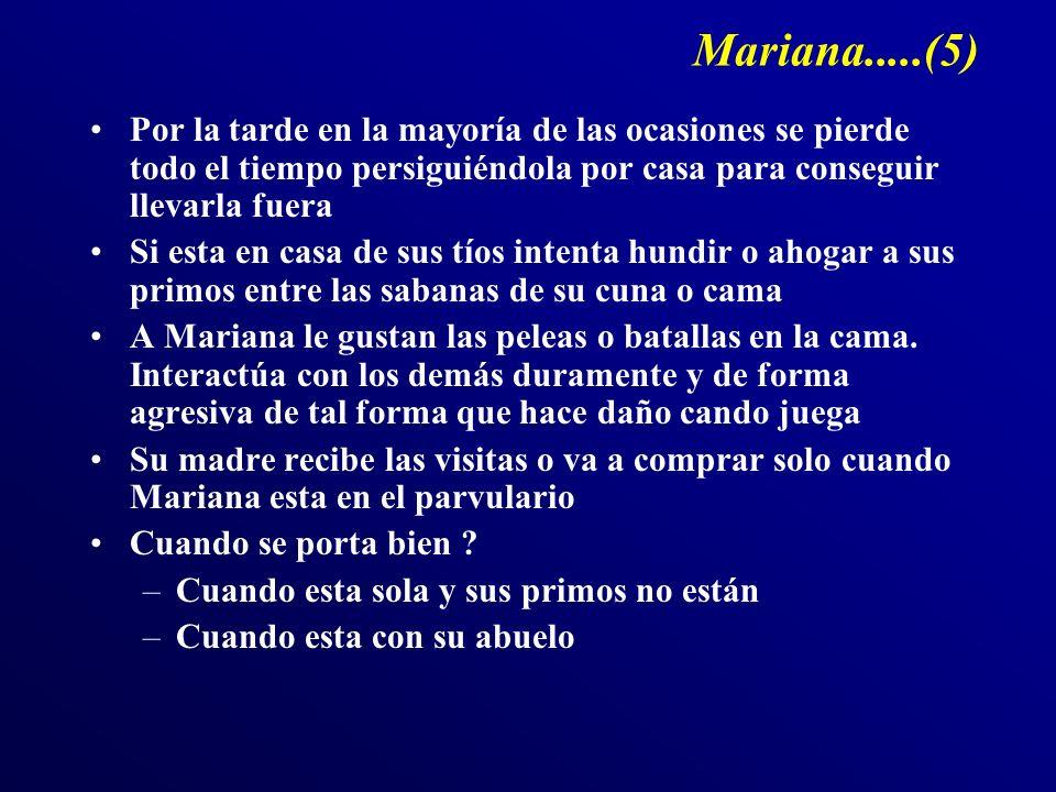 Mariana.....(5) Por la tarde en la mayoría de las ocasiones se pierde todo el tiempo persiguiéndola por casa para conseguir llevarla fuera Si esta en